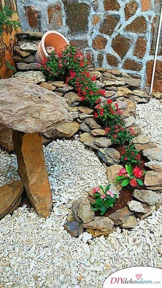 Blumenwasserfall - Frühlingsdeko im Garten