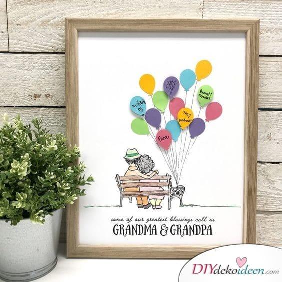 Luftballonbild – Geschenkidee für Oma und Opa