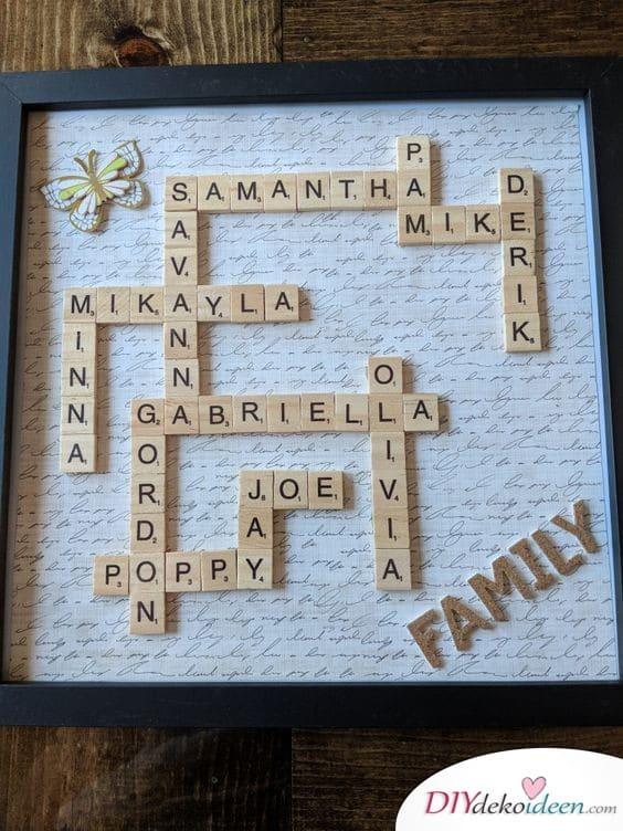 Familienstammbaum aus Scrabble-Buchstaben