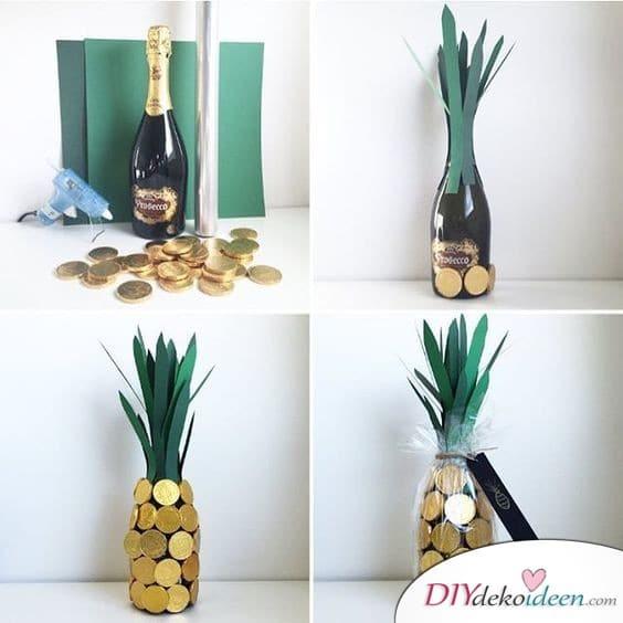 Sekt-Ananas - Geburtstagsgeschenk basteln