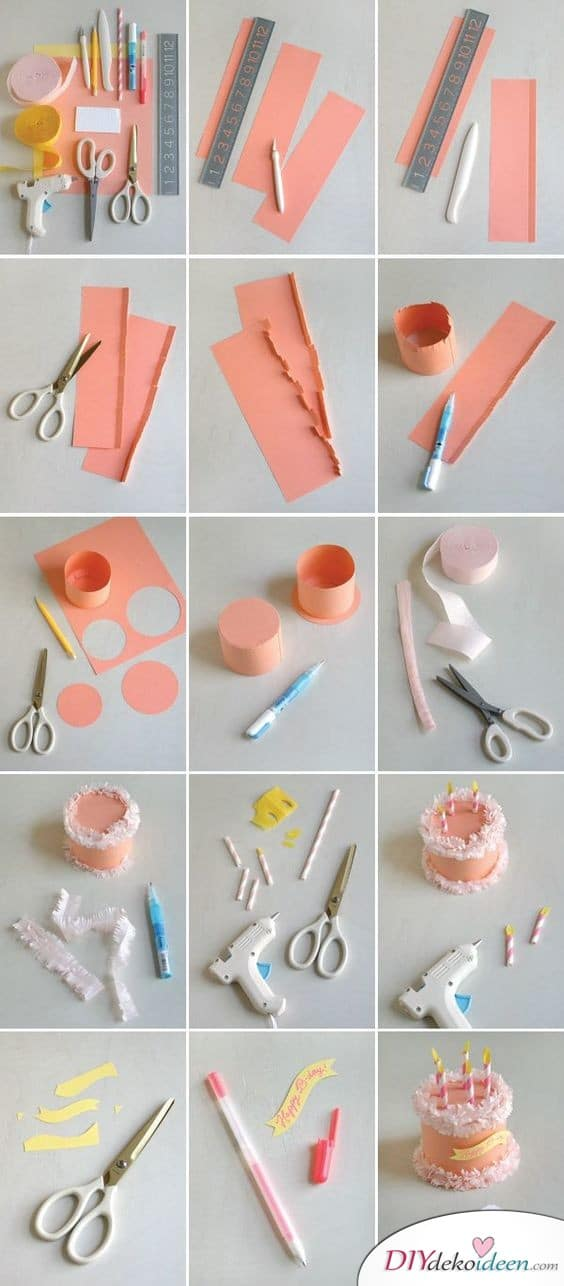 Kleine Geburtstagstortenschachtel aus Papier- Geschenkideen zum selber machen zum Geburtstag