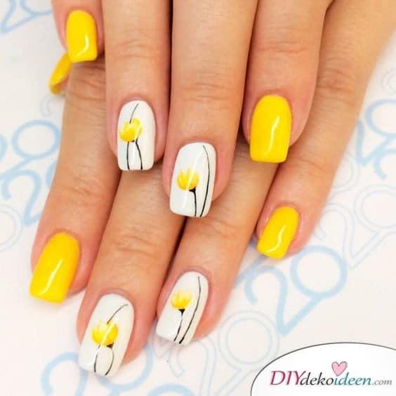 Kräftiges Gelb - Frühlingsnägel