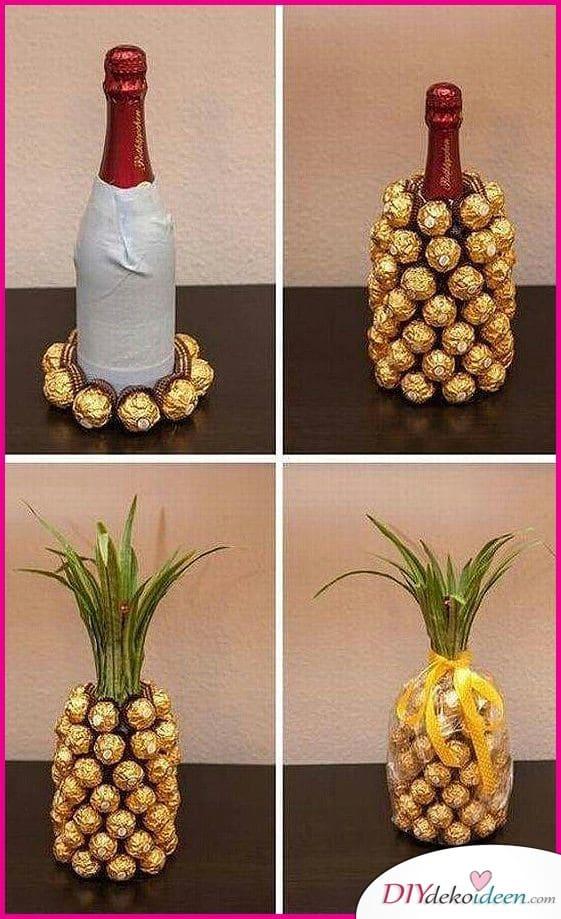 Champagner-Ananas aus Pralinen – Geschenkidee