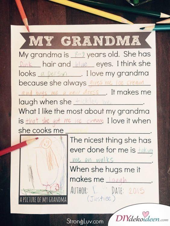 Aufsatz über Oma - Geschenke für Oma