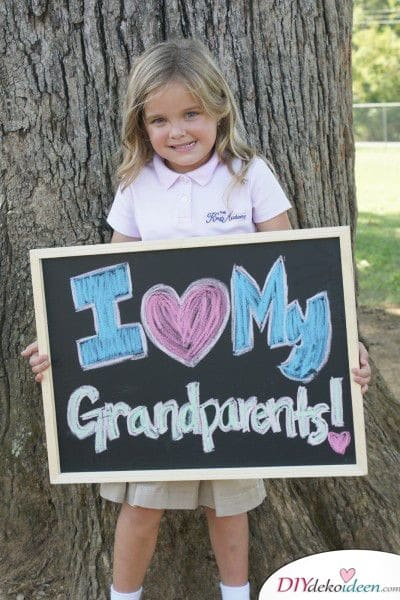 Foto mit Schiefertafel - Geschenk für Oma