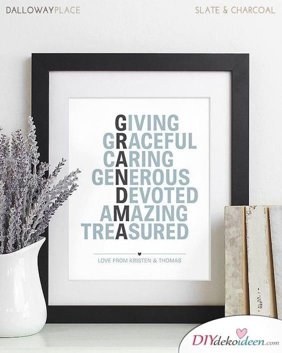 Wandbild mit den guten Eigenschaften der Oma - Geschenkidee