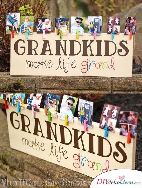 Große Fotowand - Geschenke für Großeltern selber machen