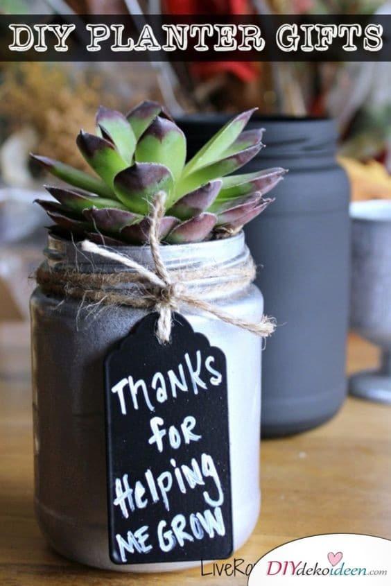 Zimmerpflanzen mit Botschaft für Großvater