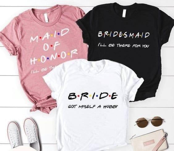 JGA Shirts für Braut, Brautjungfern und Trauzeugin