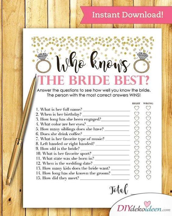 Wer kennt die Braut am besten – JGA Party Spiel