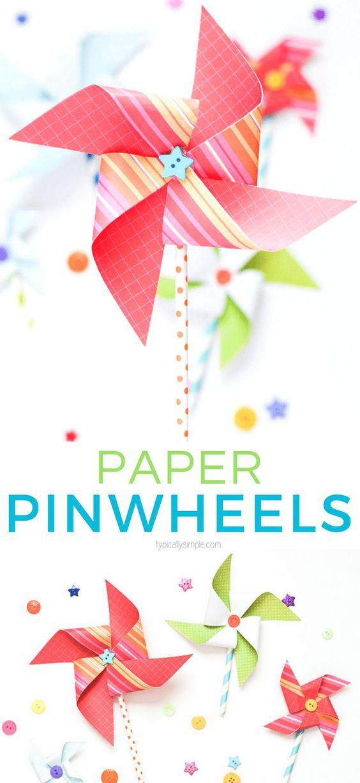 Geschenkideen selber machen für Kinder – Papierwindmühlen