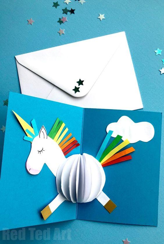 Aufklappbare Einhornkarte - Geschenke für 11 jährige Mädchen