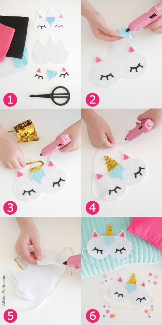 Geschenkideen selber machen für Kinder – Einhorn-Schlafmasken