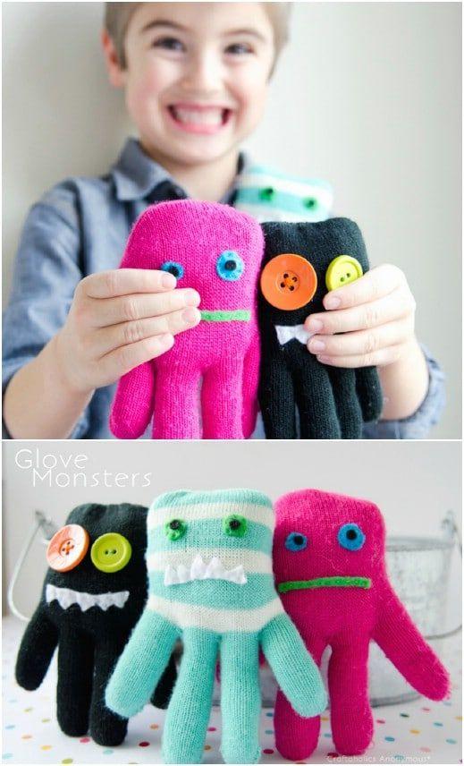 Handschuh-Monster zum Kuscheln - Handgemachte Geschenke für Jungs