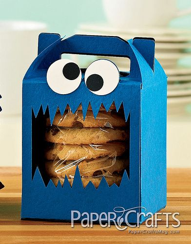 Krümelmonster-Keksverpackung - kleine Geschenke für Kinder basteln