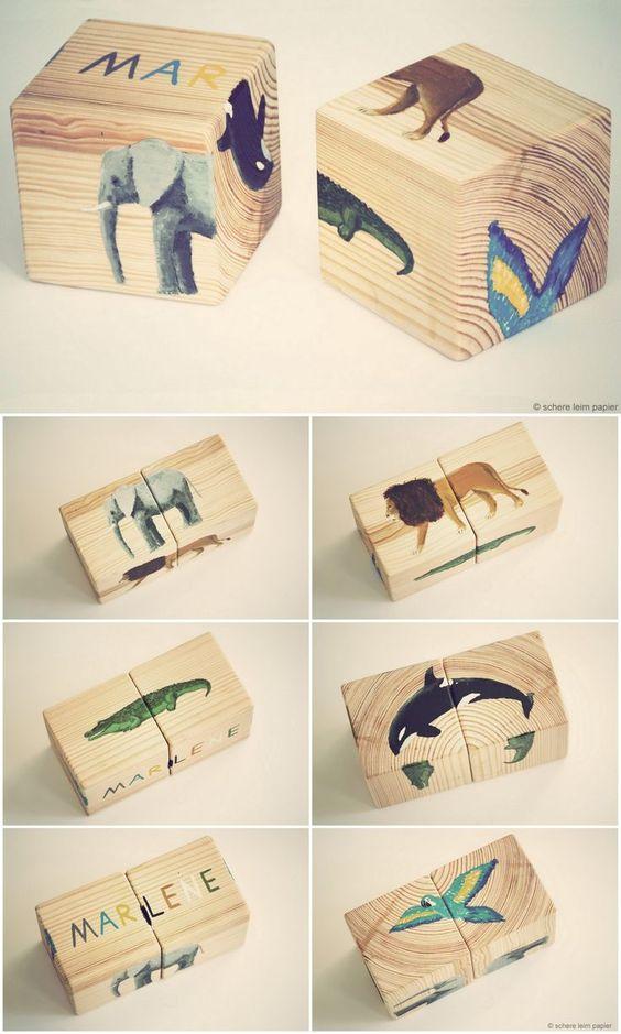 Handgemachte Geschenke für Kinder – Holzklötze mit Tieren