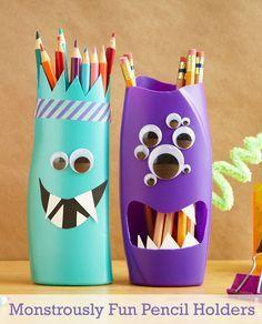 Monsterstiftehalter - kleine Geschenke für Jungs basteln