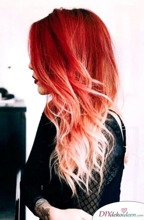 Dramatisches Ombré in Rot und Weiß - Frisuren für lange Haare