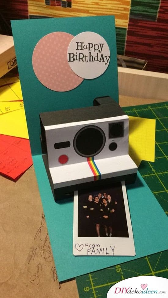 Foldable Birthday Card with Polaroid Camera