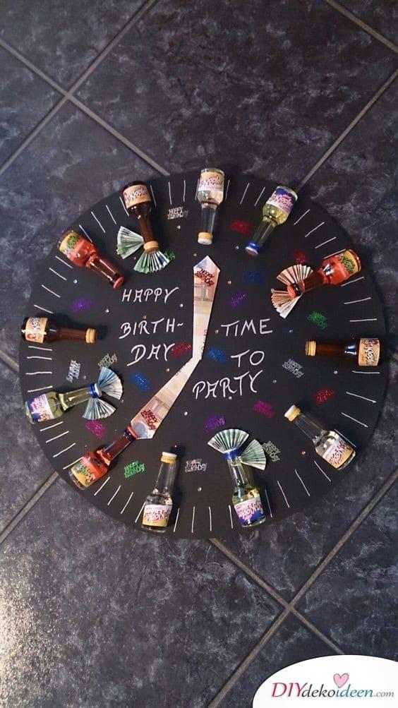 Alkohol-Uhr zum Geburtstag