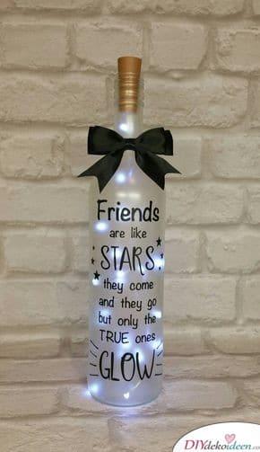 Leuchtende Flasche - Geburtstagsgeschenk für die beste Freundin