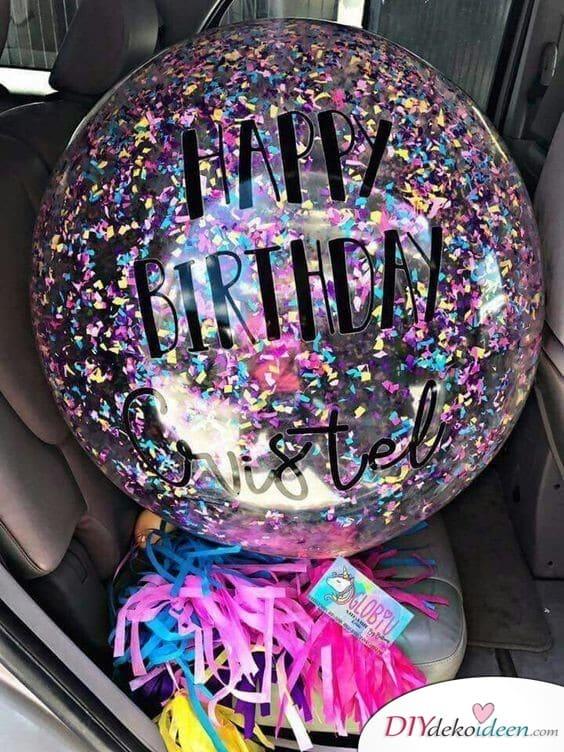 Konfettiluftballon – Geschenk zum Geburtstag