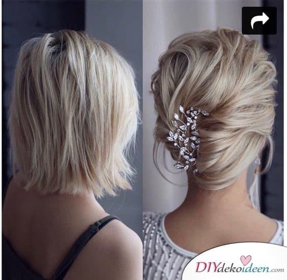 Elegante Hochzeitsfrisuren für mittellanges Haar selber machen