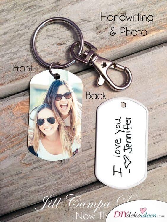 Schlüsselanhänger mit Foto und eigener Handschrift