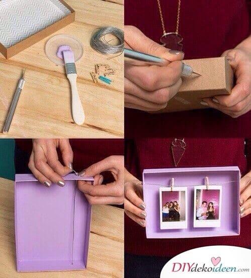 Fotorahmen aus einem Deckel - Geschenkideen für die beste Freundin