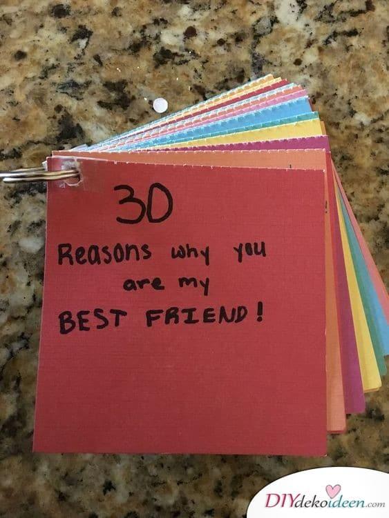 30 Gründe, warum du meine beste Freundin bist – Geschenkidee