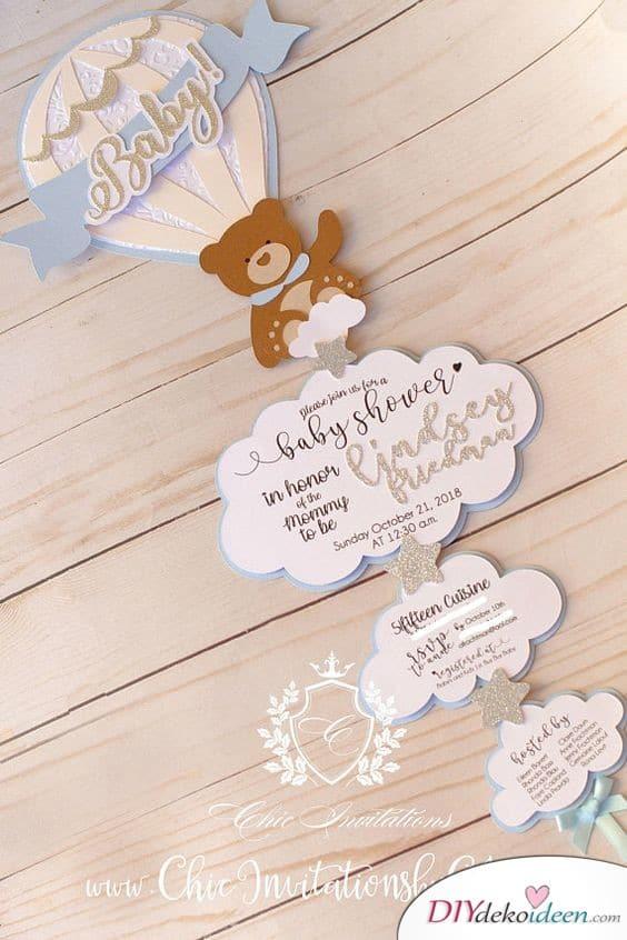 Baby Shower Card - Hot Air Balloon