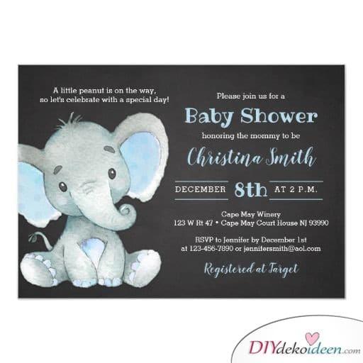 Baby Party Invitation Cards - Elephant