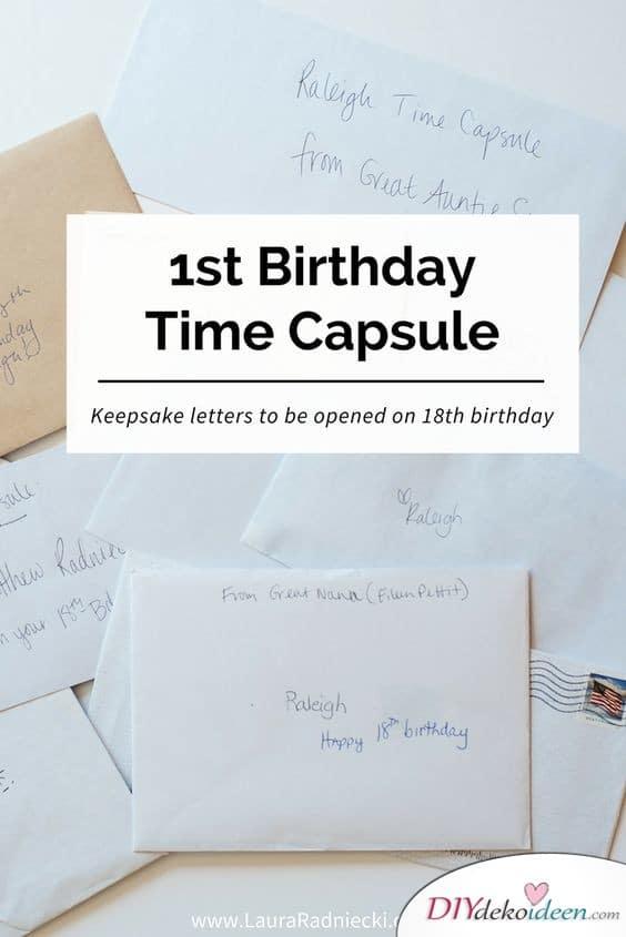 Zeitkapsel zum ersten Geburtstag - Geschenke für Einjährige