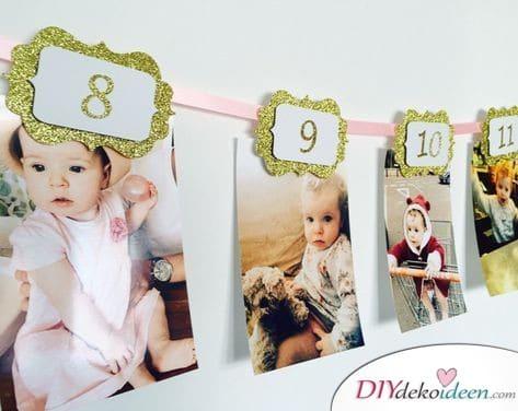 Girlande mit Fotos - Geschenke zum ersten Geburtstag