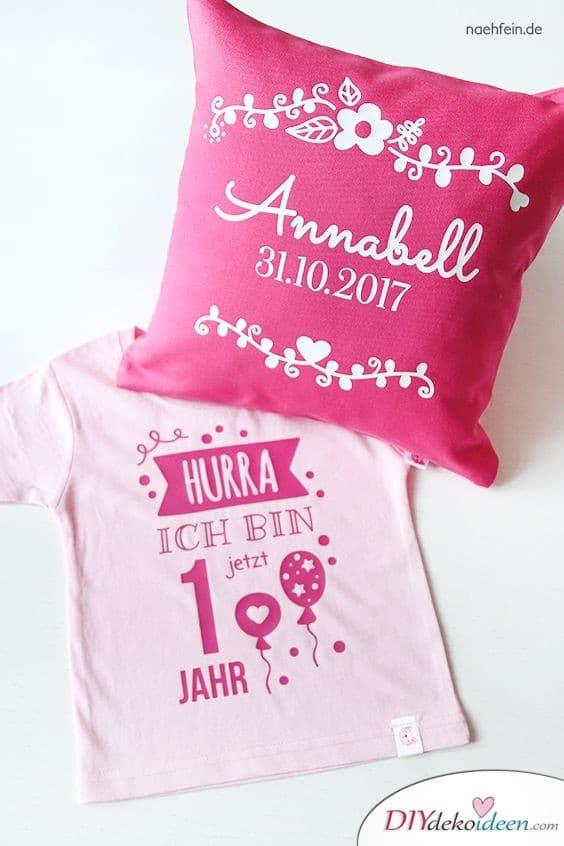 Bedrucktes Kissen und Shirt - persönliche Geschenke zum 1 Geburtstag