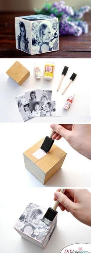 Holzklotz mit Fotos - persönliches Geschenk für Mama