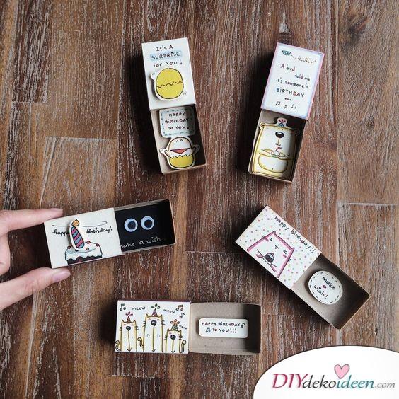 Kleine Streichholzschachteln mit Botschaften - Geschenke für die Schwester