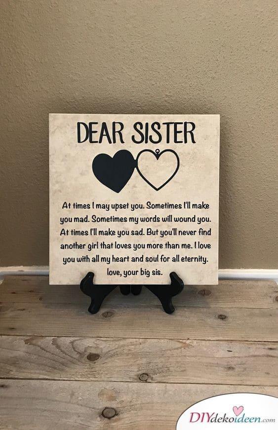 Dekoratives Schild - Geschenke für die Schwester