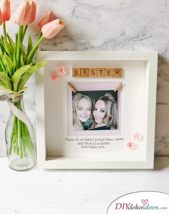 Picture frame with dedication - personalized gift for sister