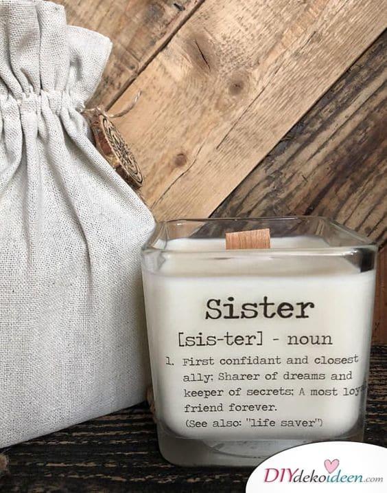 Bedrucktes Kerzenglas - Geburtstagsgeschenk für die Schwester