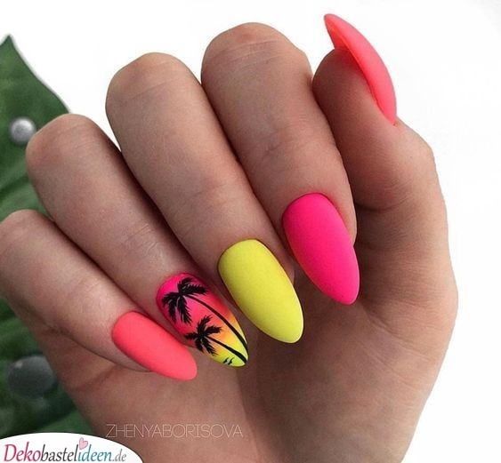 Summer Nail Design - Tropical Sunset