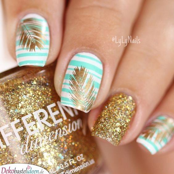 Nägel Sommer – Streifen, Palmen, Glitzer