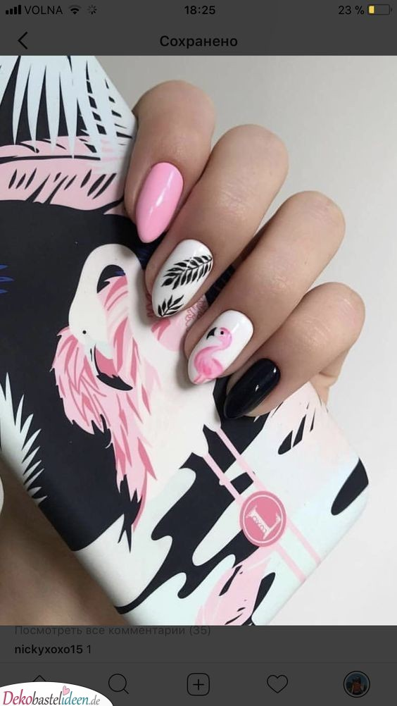 Nails in summer colors - Flamingos