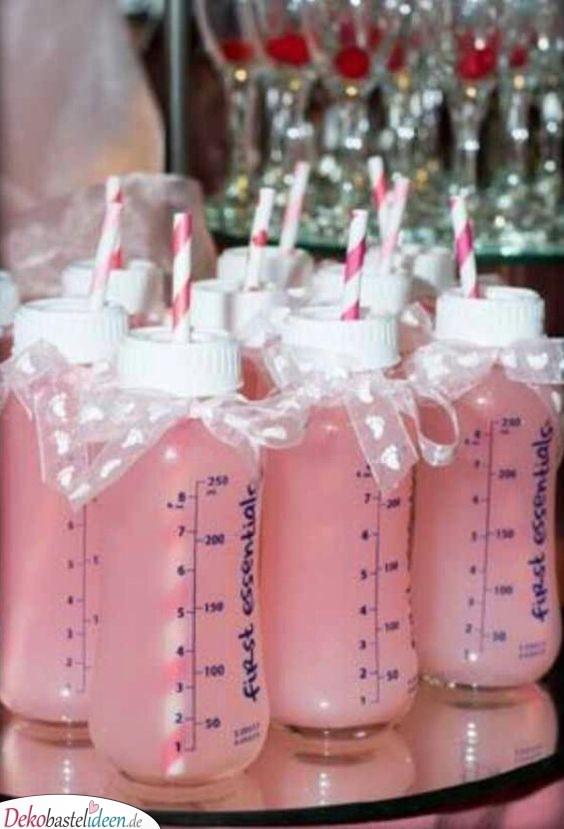 Getränke in Babyflaschen – Babyparty Ideen