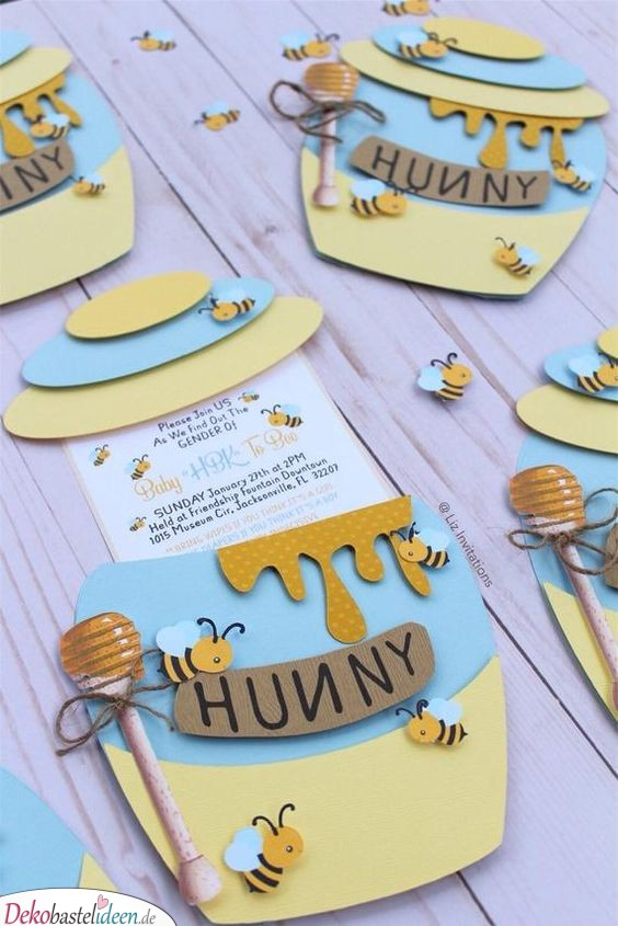 Babyparty Einladungskarten – Bienchen und Honig