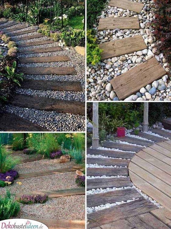 Gartenweg mit Steinen und Brettern