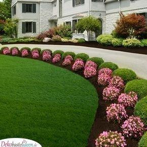 Schöner Garten mit Buchsbaumkugeln und Blumen