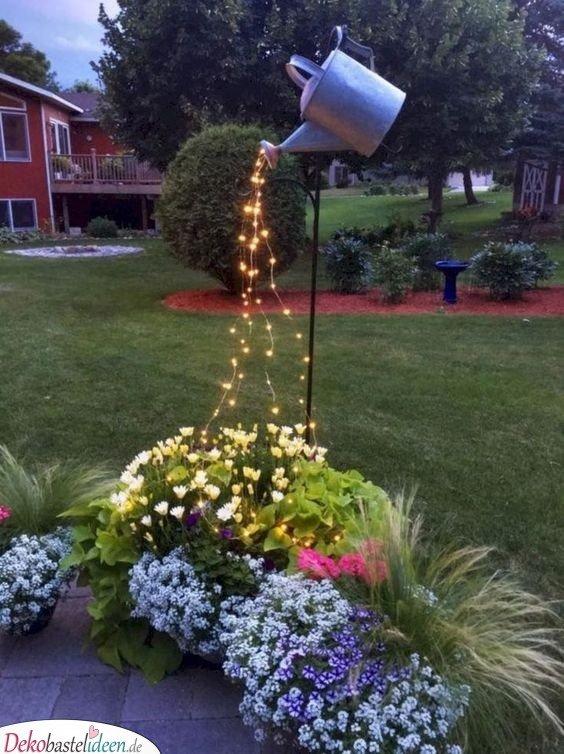 Gartengestaltung Ideen Bilder – Gießkanne mit Lichterkette