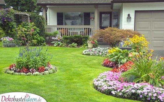 Blumeninseln im Rasen - Garten gestalten Ideen