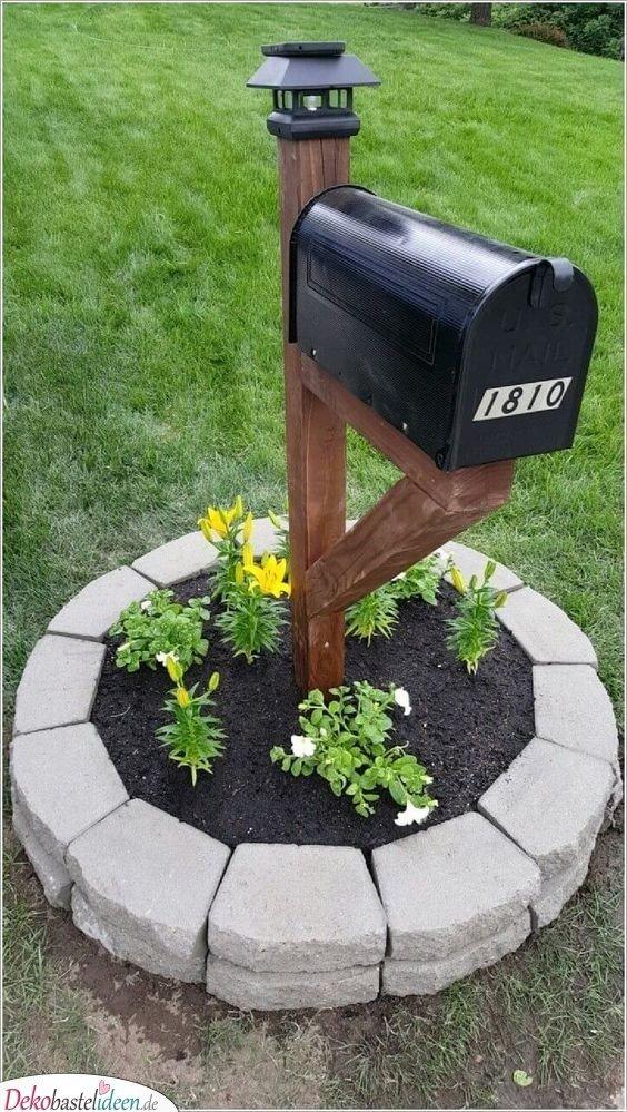Garten gestalten Ideen – Briefkasten mit Blumen